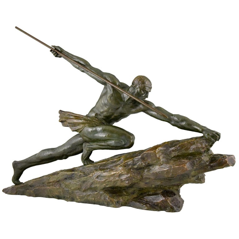 Art Deco Bronze Sculpture Man with Spear Pierre Le Faguays, France, 1927
