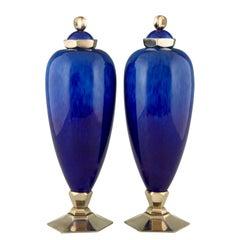 Pair of Art Deco Blue Ceramic Vases or Urns Paul Milet for Sèvres France, 1925