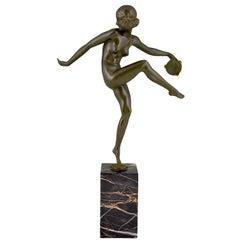 Art Deco Bronze Sculpture Nude Tambourine Dancer Pierre Laurel, Pie