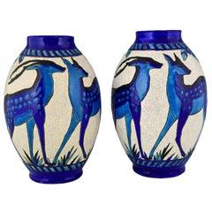 Art Deco Craquelé Ceramic Vases with Blue Deer Charles Catteau for Keramis, Pair