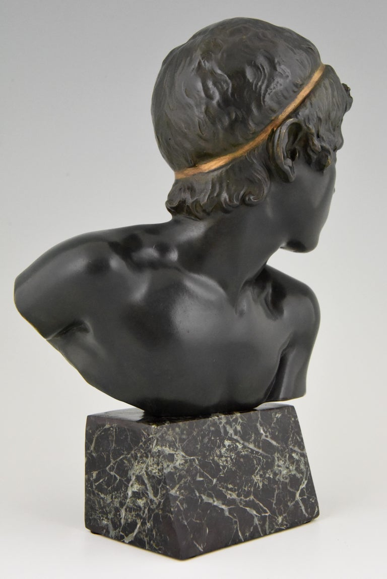 Art Deco Bronze Bust of the Young Achilles Constant Roux France, 1920 For Sale 3