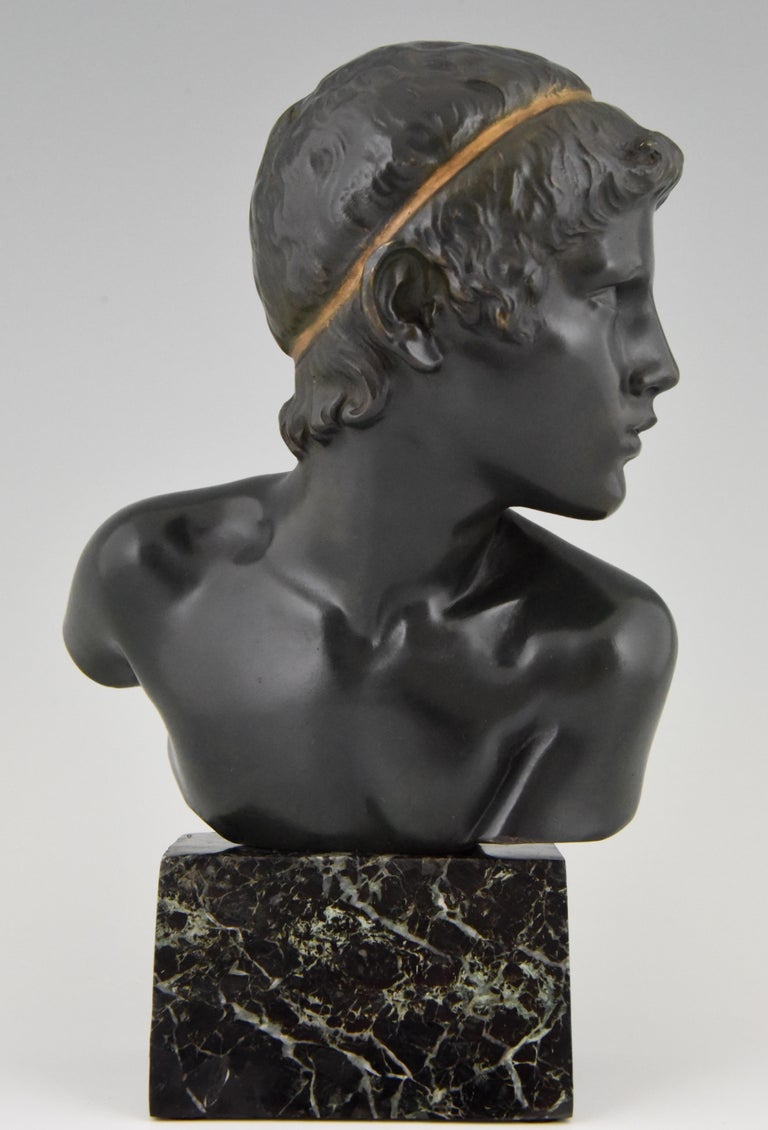 Patinated Art Deco Bronze Bust of the Young Achilles Constant Roux France, 1920 For Sale