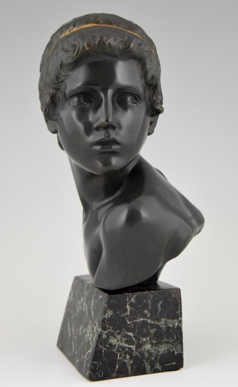 Art Deco Bronze Bust of the Young Achilles Constant Roux France, 1920 In Good Condition For Sale In Antwerp, BE