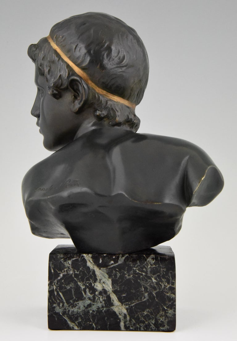 Art Deco Bronze Bust of the Young Achilles Constant Roux France, 1920 For Sale 1