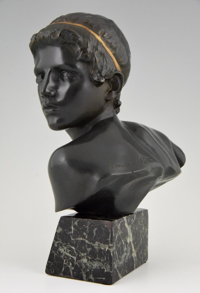 20th Century Art Deco Bronze Bust of the Young Achilles Constant Roux France, 1920 For Sale