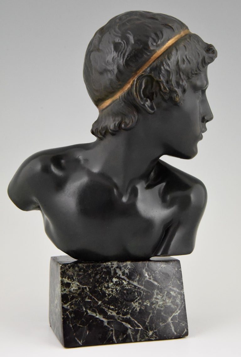 Art Deco Bronze Bust of the Young Achilles Constant Roux France, 1920 For Sale 4