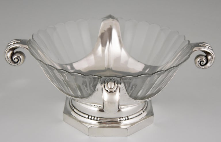 Art Deco Silver Plated Centrepiece or Fruit Dish Gallia, Christofle Sue & Mare In Good Condition For Sale In Antwerp, BE