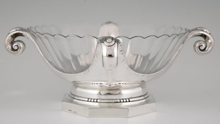 French Art Deco Silver Plated Centrepiece or Fruit Dish Gallia, Christofle Sue & Mare For Sale