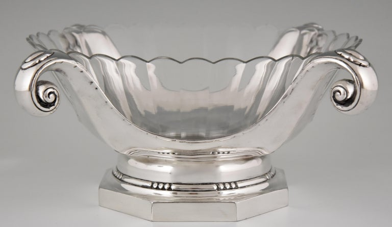 Silvered Art Deco Silver Plated Centrepiece or Fruit Dish Gallia, Christofle Sue & Mare For Sale