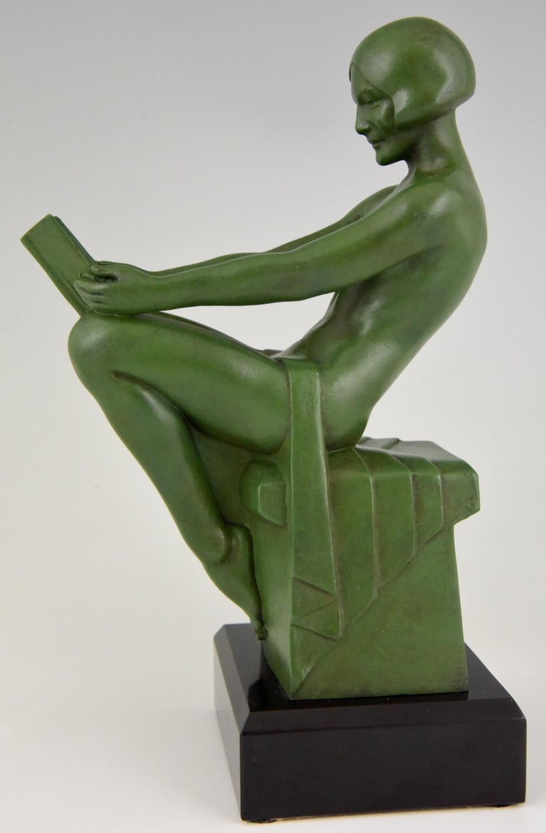 Art Deco Bookends Reading Nudes Max Le Verrier France 1930 Art Meal Green Patina For Sale 1