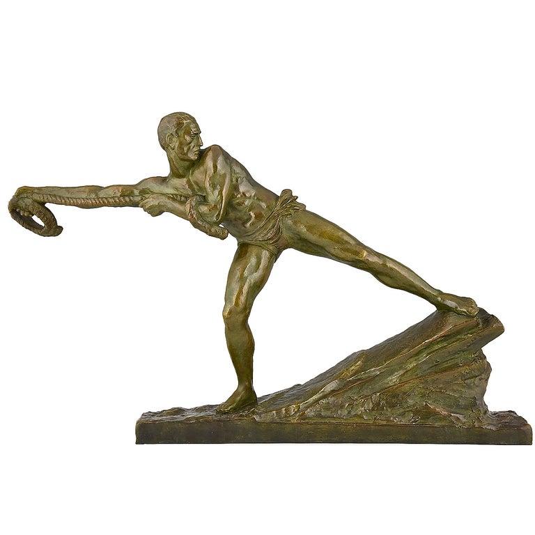Art Deco Bronze Sculpture Athlete Male Nude Pierre Le Faguays, 1930, France For Sale