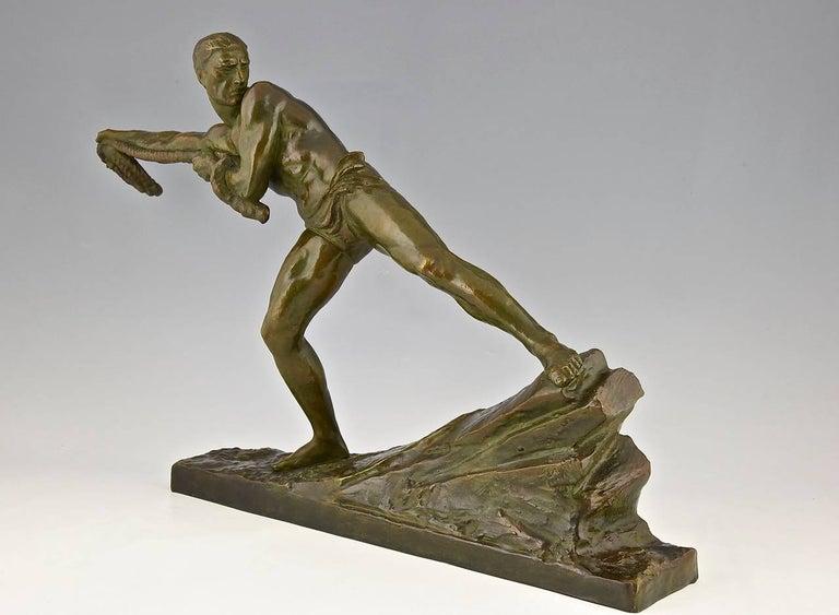 French Art Deco Bronze Sculpture Athlete Male Nude Pierre Le Faguays, 1930, France For Sale