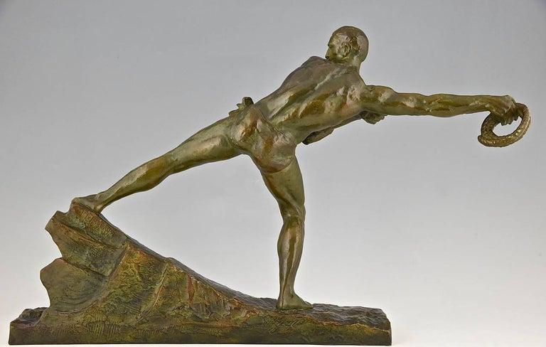 Art Deco Bronze Sculpture Athlete Male Nude Pierre Le Faguays, 1930, France In Good Condition For Sale In Antwerp, BE