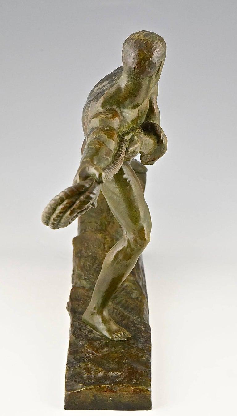 20th Century Art Deco Bronze Sculpture Athlete Male Nude Pierre Le Faguays, 1930, France For Sale
