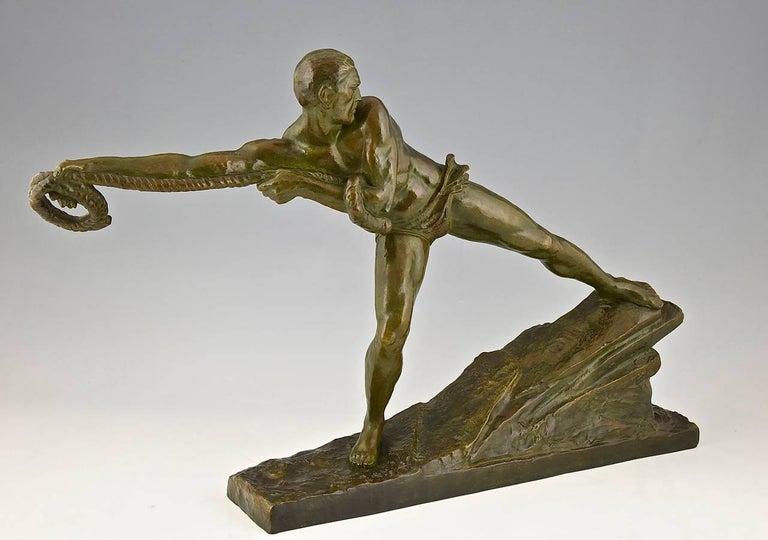 Art Deco Bronze Sculpture Athlete Male Nude Pierre Le Faguays, 1930, France For Sale 1