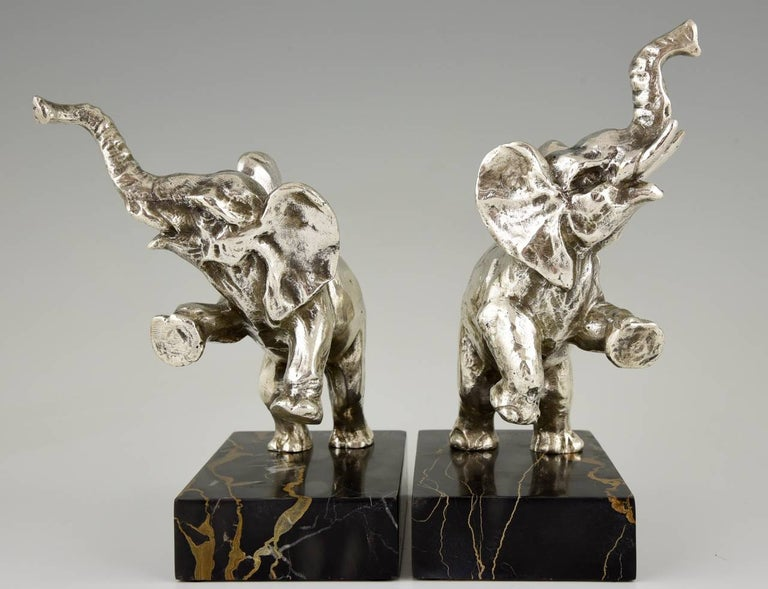 Silvered Art Deco silvered Bronze Elephant Bookends by Fontinelle, 1930 France For Sale