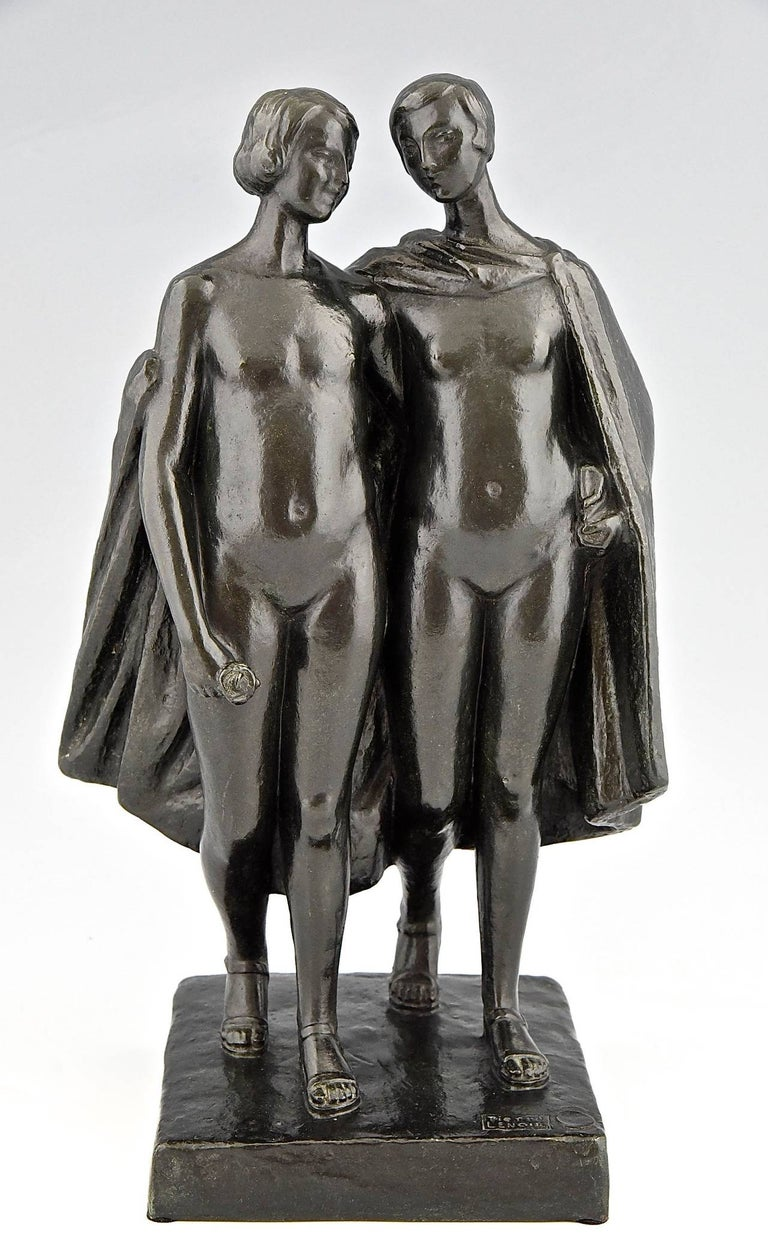 Art Deco bronze sculpture of two nudes by Pierre Lenoir.