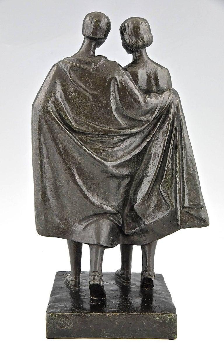 Patinated Pierre Lenoir Art Deco Bronze Sculpture of Two Nudes 1930  France For Sale