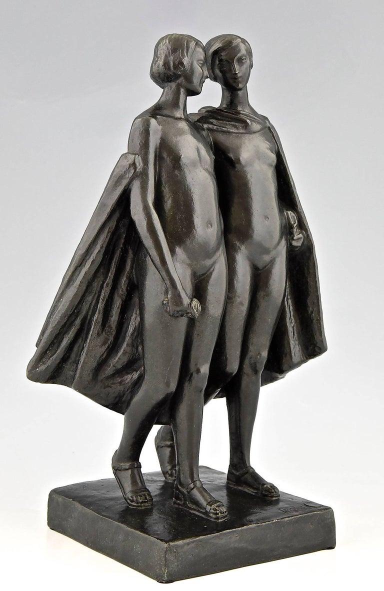 Pierre Lenoir Art Deco Bronze Sculpture of Two Nudes 1930  France For Sale 1