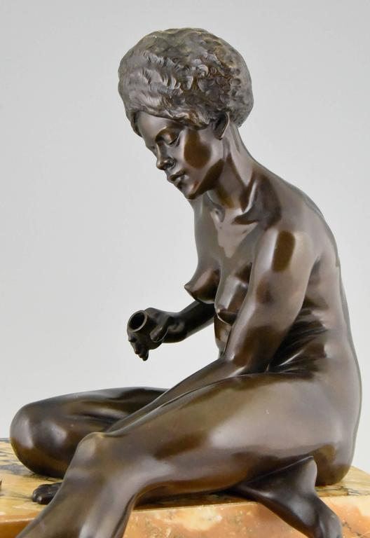Art Deco Bronze Sculpture African Nude by Clarisse Levy Kinsbourg, 1930, France For Sale 1