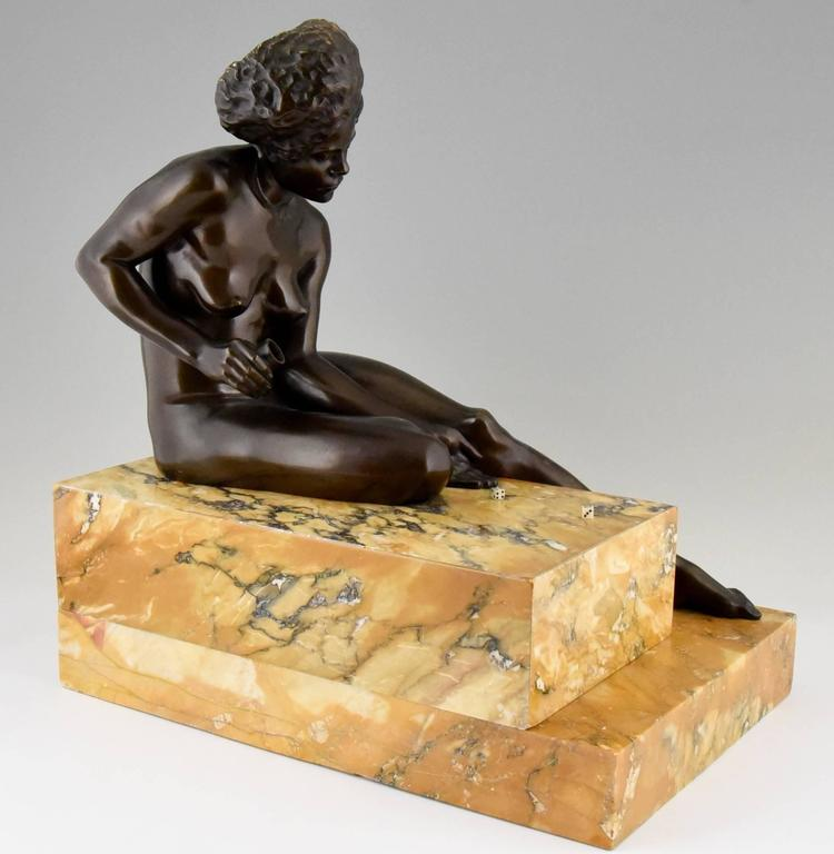 Patinated Art Deco Bronze Sculpture African Nude by Clarisse Levy Kinsbourg, 1930, France For Sale