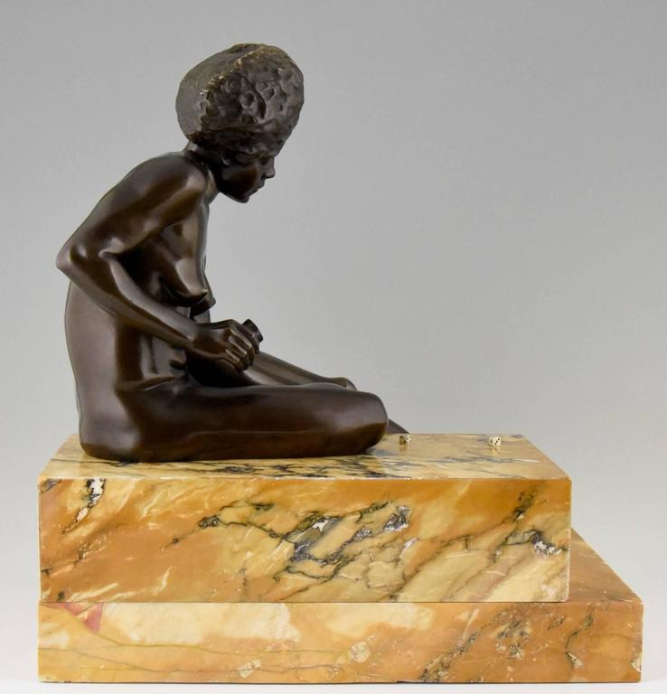 French Art Deco Bronze Sculpture African Nude by Clarisse Levy Kinsbourg, 1930, France For Sale