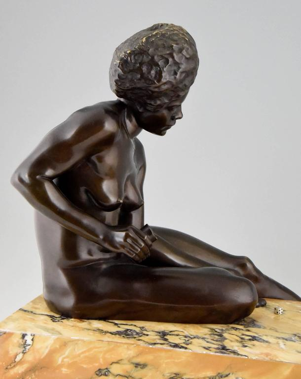 French Art Deco Bronze Sculpture Of An African Nude By C Levy Kinsbourg 1930 For Sale -7722