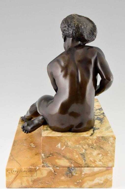 Art Deco Bronze Sculpture African Nude by Clarisse Levy Kinsbourg, 1930, France For Sale 3
