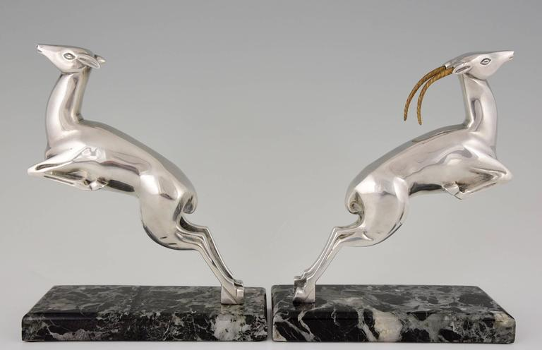 Marcel Bouraine French Art Deco Silvered Bronze Deer Bookends, 1930 4