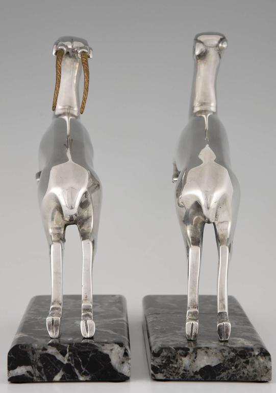 Marcel Bouraine French Art Deco Silvered Bronze Deer Bookends, 1930 6