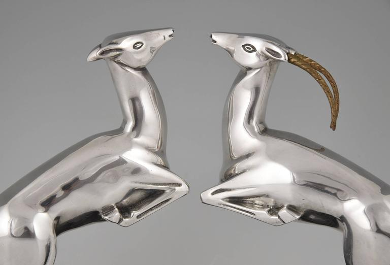 Marcel Bouraine French Art Deco Silvered Bronze Deer Bookends, 1930 5