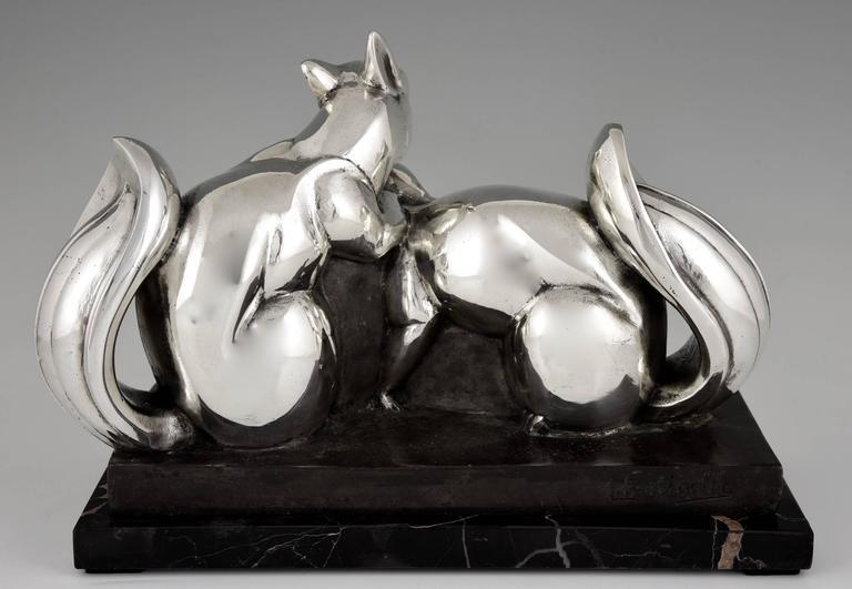 Jean de la Fontinelle, French Art Deco Silvered Bronze Squirrel Sculpture, 1930 For Sale 5