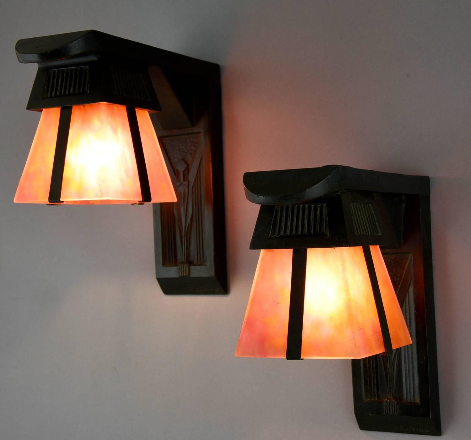 Art Deco Wall Lights : Max le verrier and daum art deco wall lights appliques
