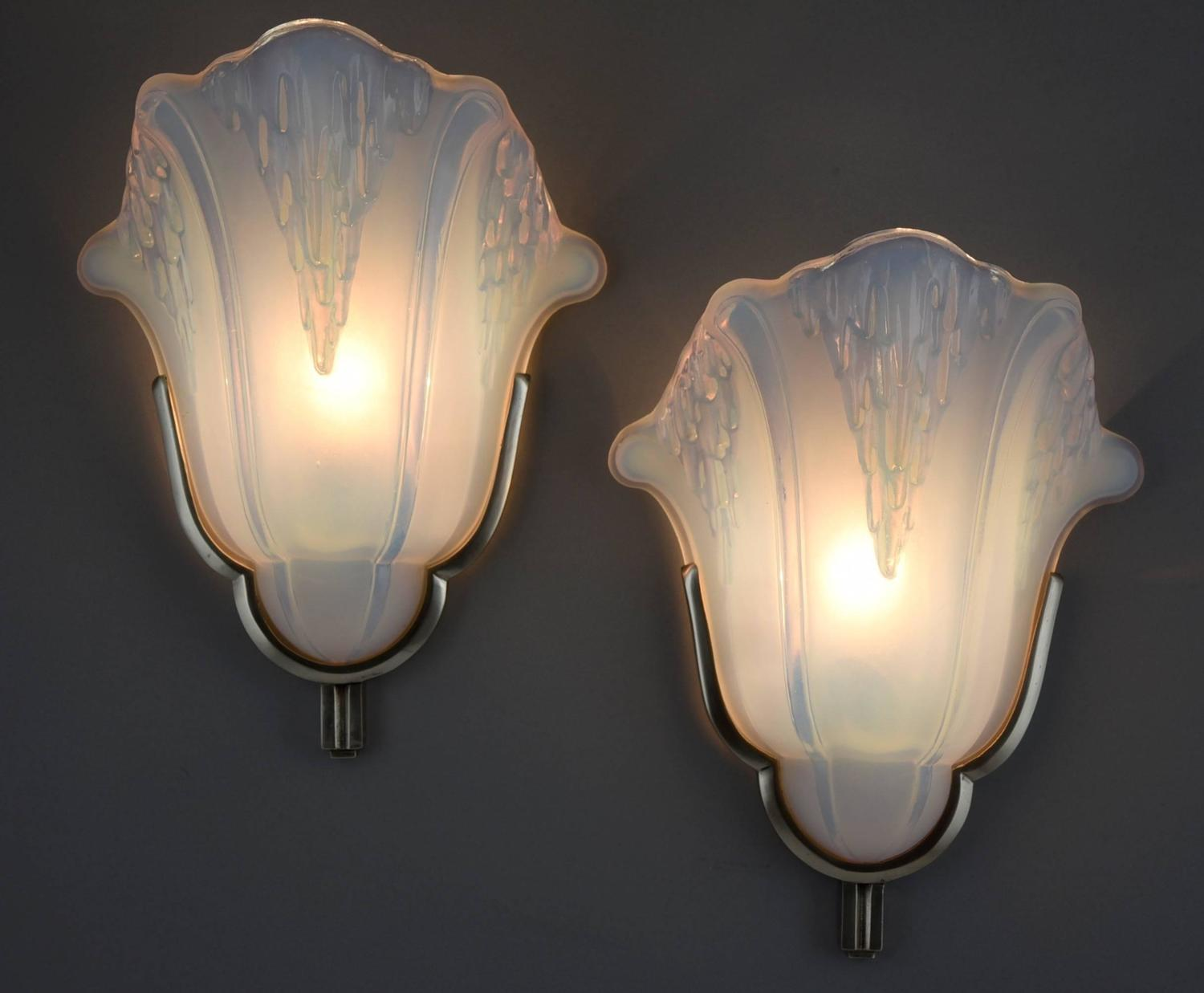 French art deco wall lights appliques by petitot 1930 at 1stdibs - Appliques art deco fabricant ...