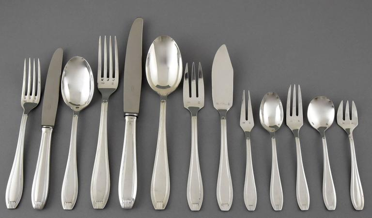 Art Deco Silver Plated 178 Pc Cutlery Set By Frionnet In