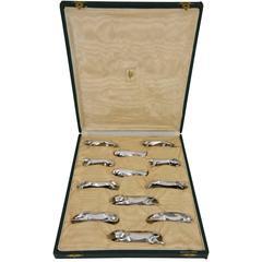 Art Deco Set of 12 Animal Knife Rests by Sandoz for Gallia, Christofle