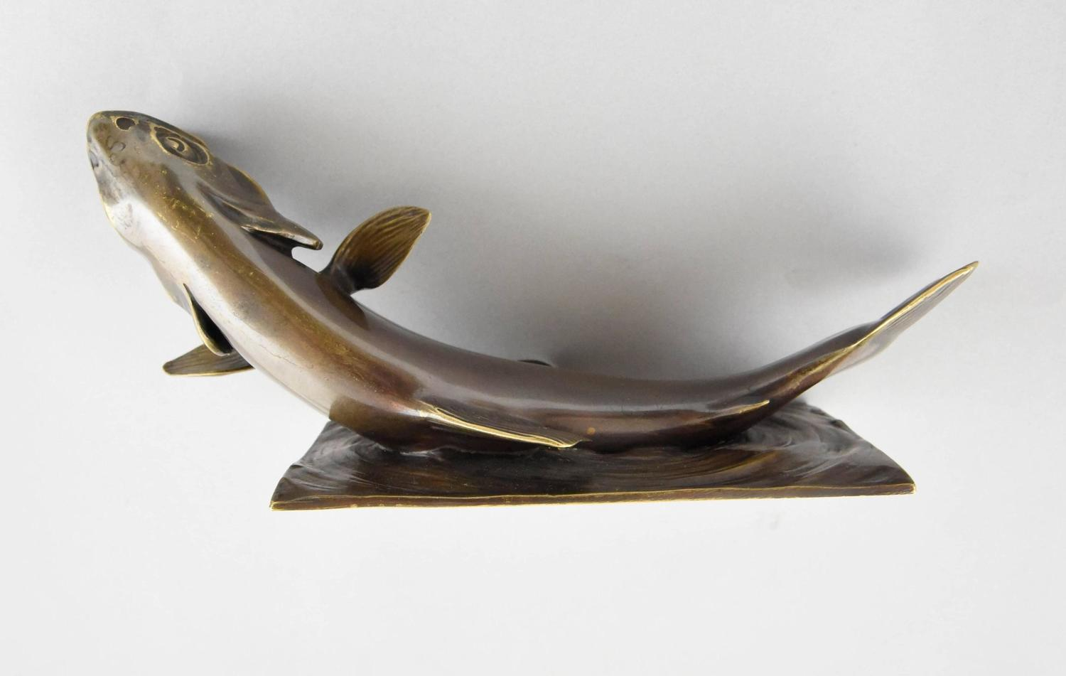 French Art Deco bronze sculpture of a trout fish by Marchegay. For ...