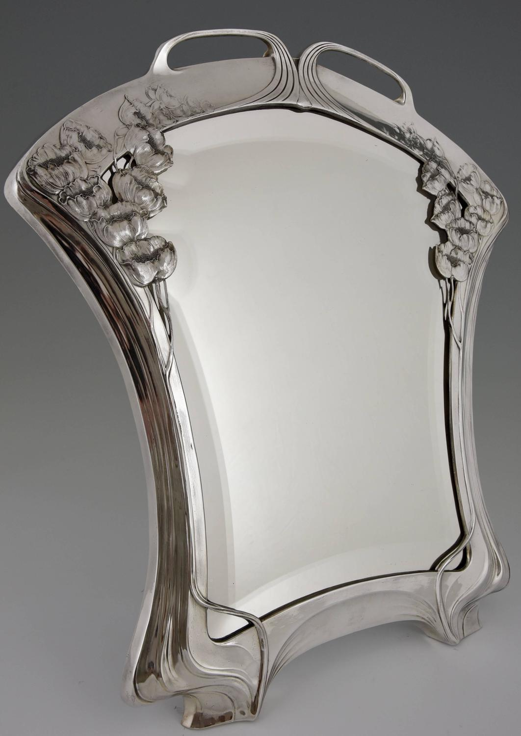 Silvered art nouveau mirror by orivit beveled glass