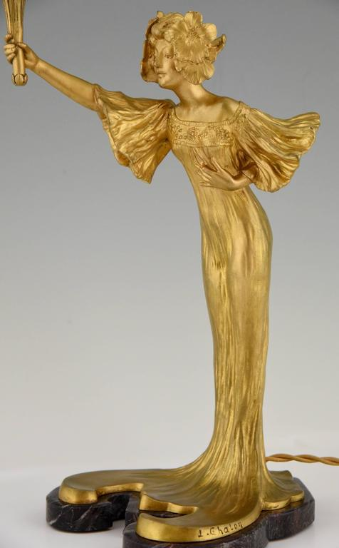 Chalon French Art Nouveau Gilt and Patinated Bronze Loïe