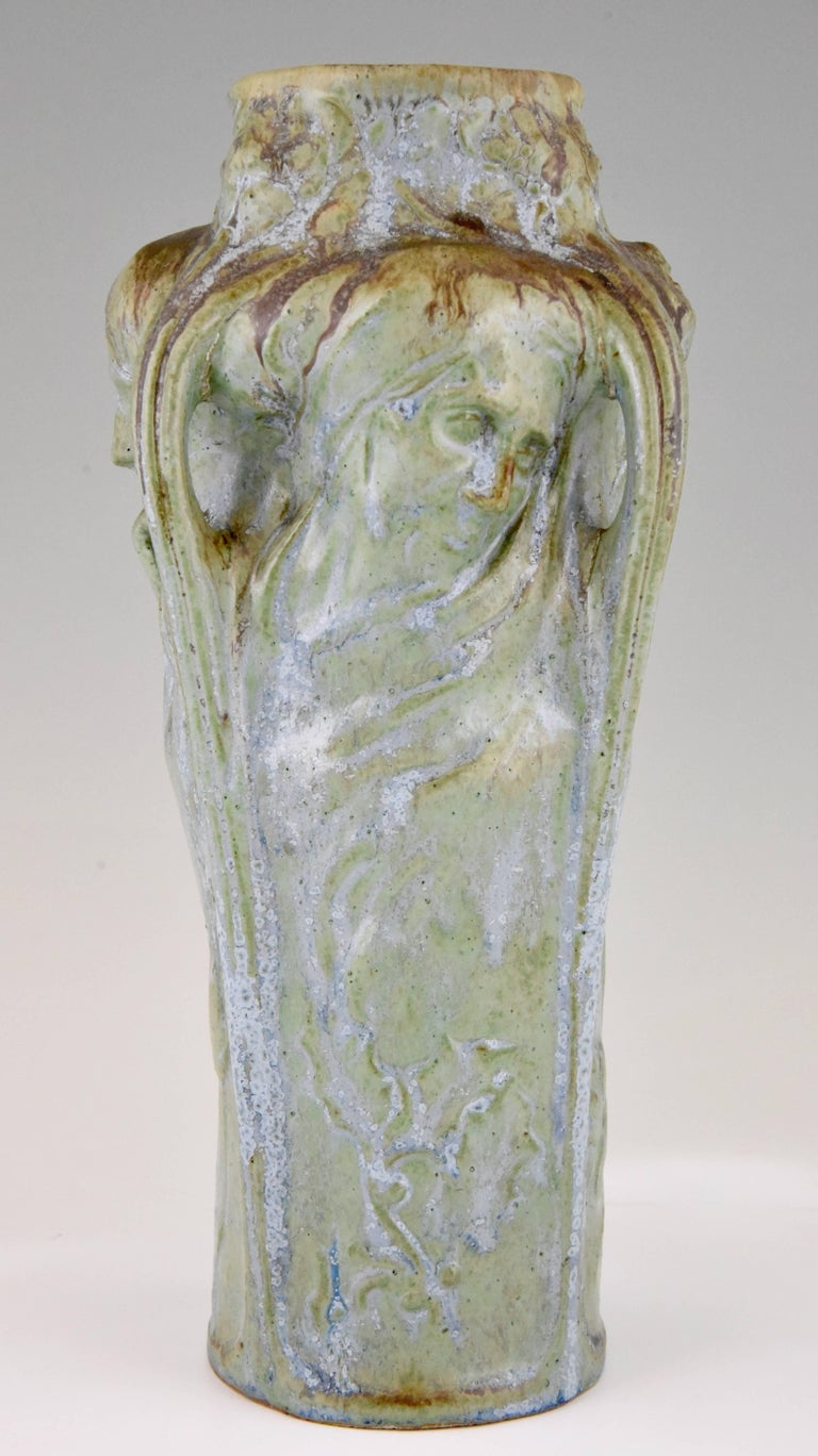Art nouveau vase four womens faces four seasons michelet for art nouveau glazed stoneware vase with four womens profiles and floral decorations representing the four reviewsmspy