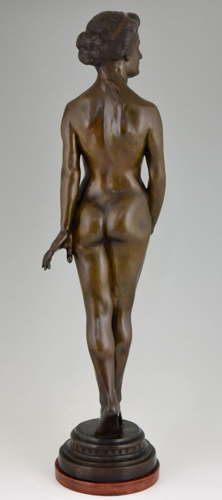 Art Deco Bronze Standing Nude by Wilhelm Oskar Prack, 1930 In Good Condition For Sale In Antwerp, BE