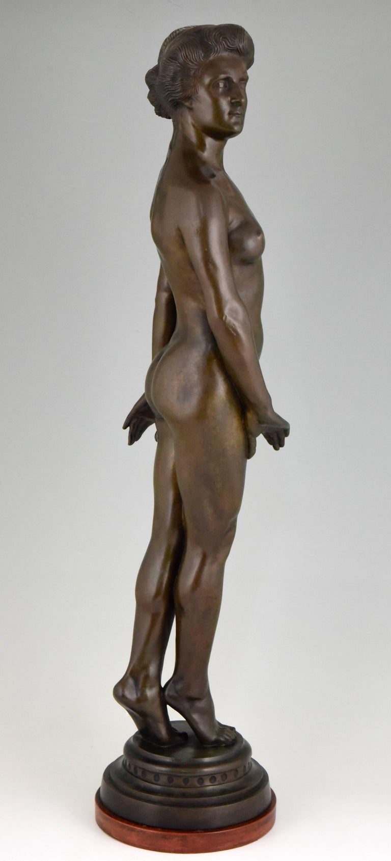 Mid-20th Century Art Deco Bronze Standing Nude by Wilhelm Oskar Prack, 1930 For Sale