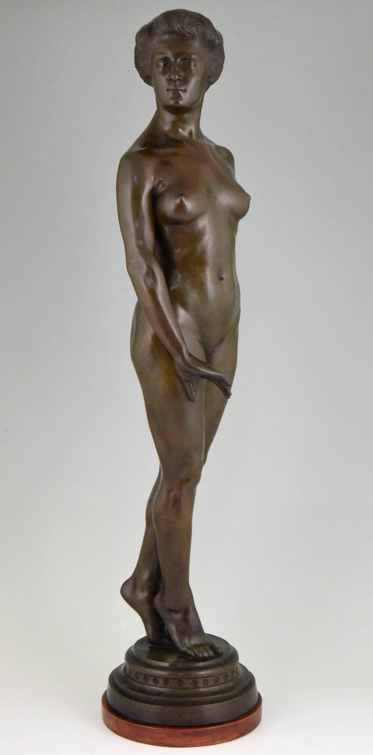 Art Deco Bronze Standing Nude by Wilhelm Oskar Prack, 1930 For Sale 1