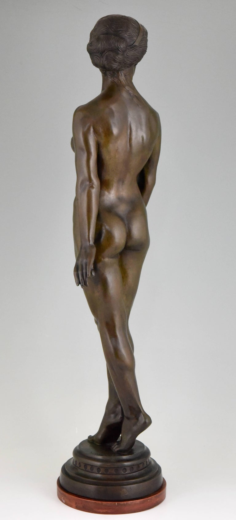 Patinated Art Deco Bronze Standing Nude by Wilhelm Oskar Prack, 1930 For Sale