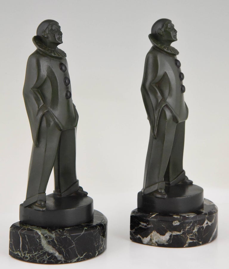 20th Century Art Deco Pierrot Bookends by Max Le Verrier, France, 1930 For Sale
