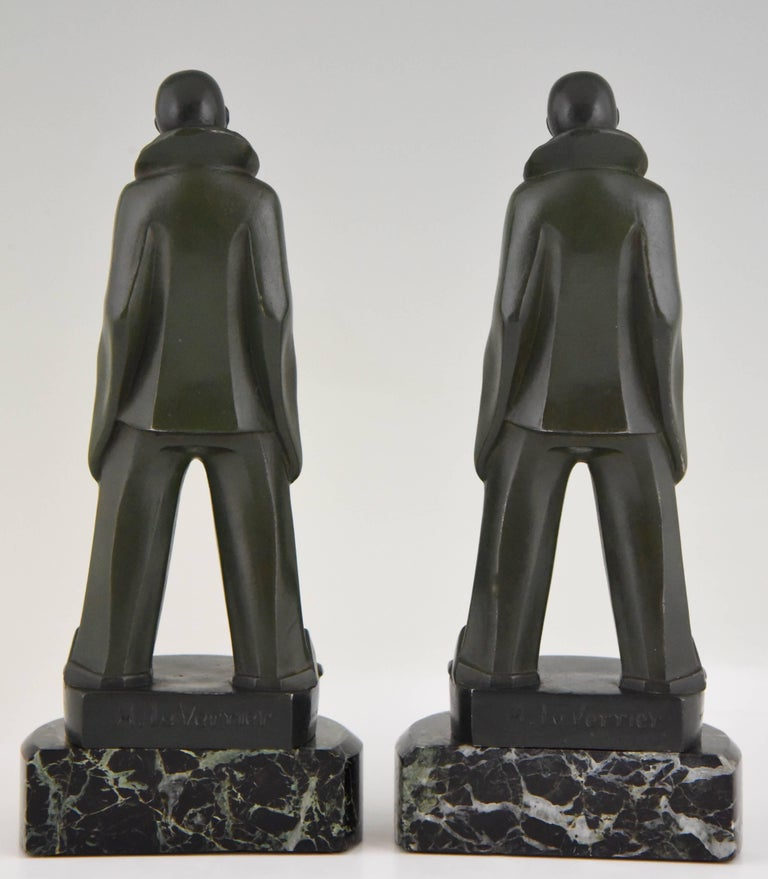 Art Deco Pierrot Bookends by Max Le Verrier, France, 1930 In Good Condition For Sale In Antwerp, BE