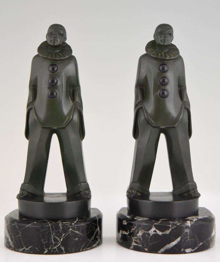 French Art Deco Pierrot Bookends by Max Le Verrier, France, 1930 For Sale