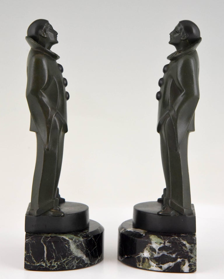 Patinated Art Deco Pierrot Bookends by Max Le Verrier, France, 1930 For Sale