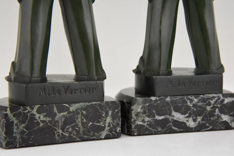 Art Deco Pierrot Bookends by Max Le Verrier, France, 1930 For Sale 2