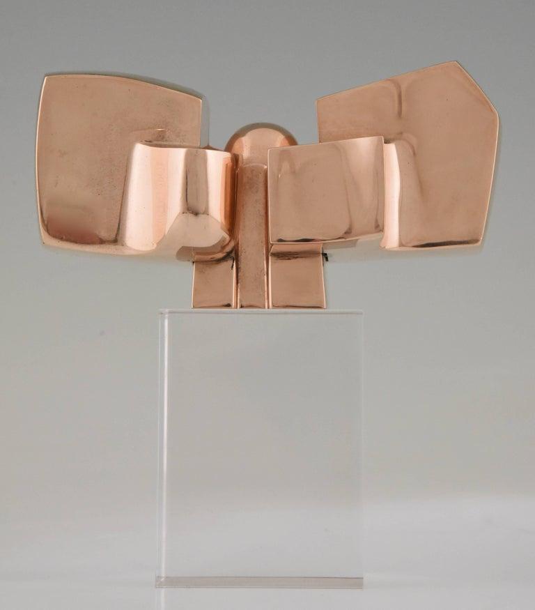 Mid-Century Modern Bronze Abstract Sculpture on Plexiglass Base by José Luis Sanchez 1970 For Sale